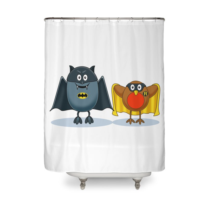 Bat and Robin Home Shower Curtain by steveash's Artist Shop