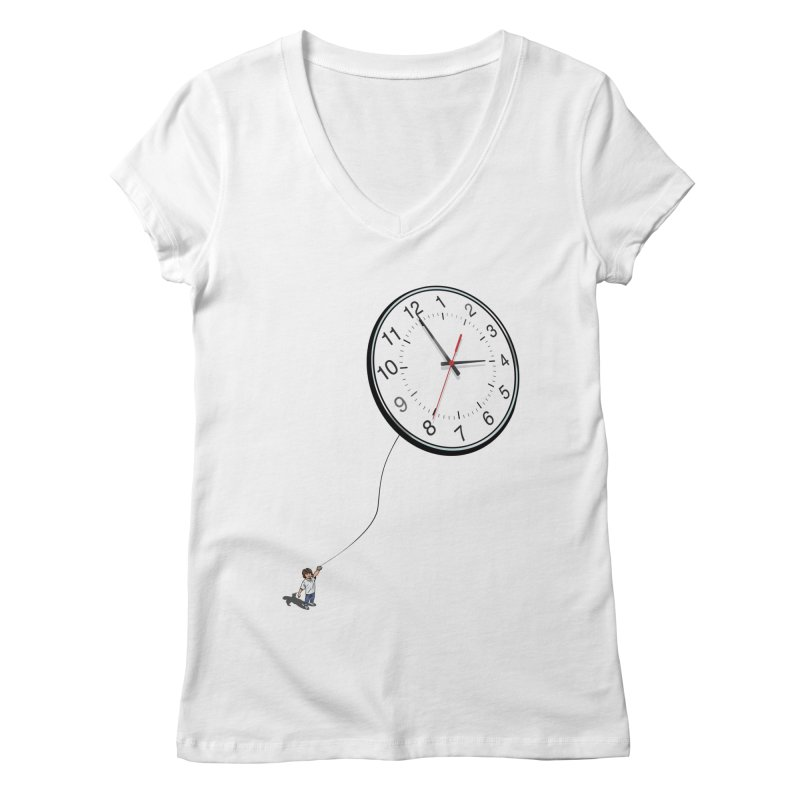 Time Flies Women's V-Neck by steveash's Artist Shop