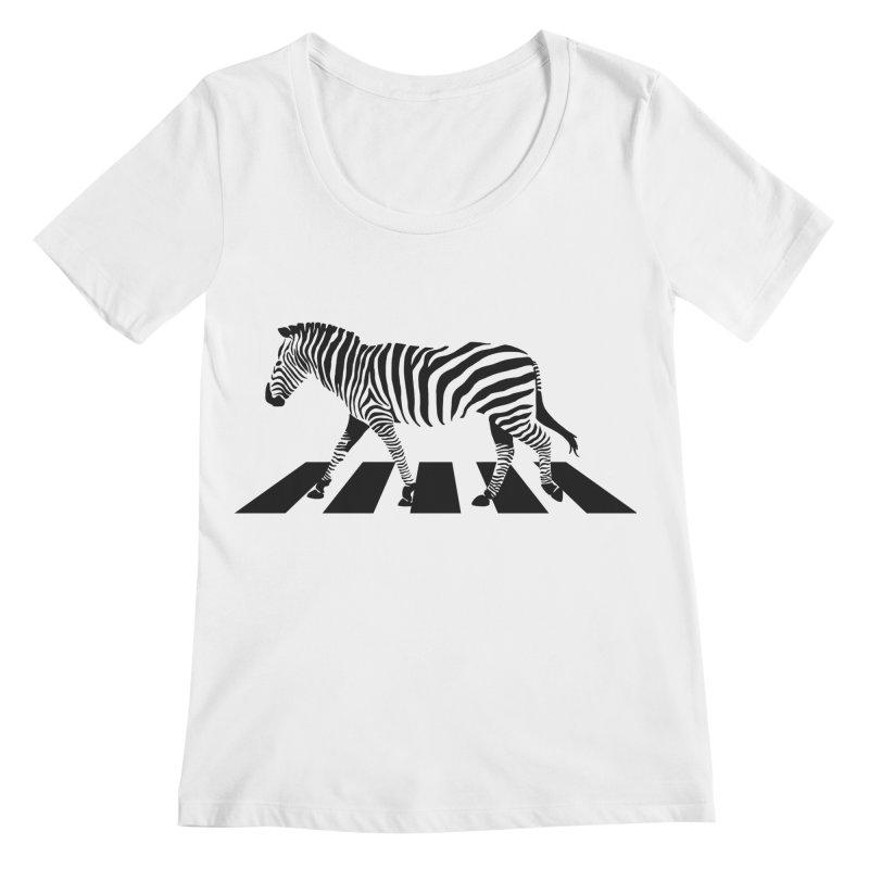 Zebra Crossing Women's Regular Scoop Neck by steveash's Artist Shop