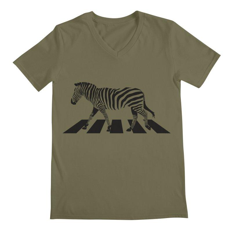 Zebra Crossing Men's V-Neck by steveash's Artist Shop