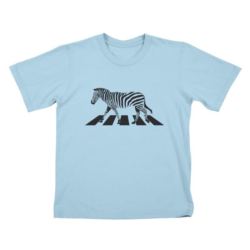 Zebra Crossing Kids T-Shirt by steveash's Artist Shop