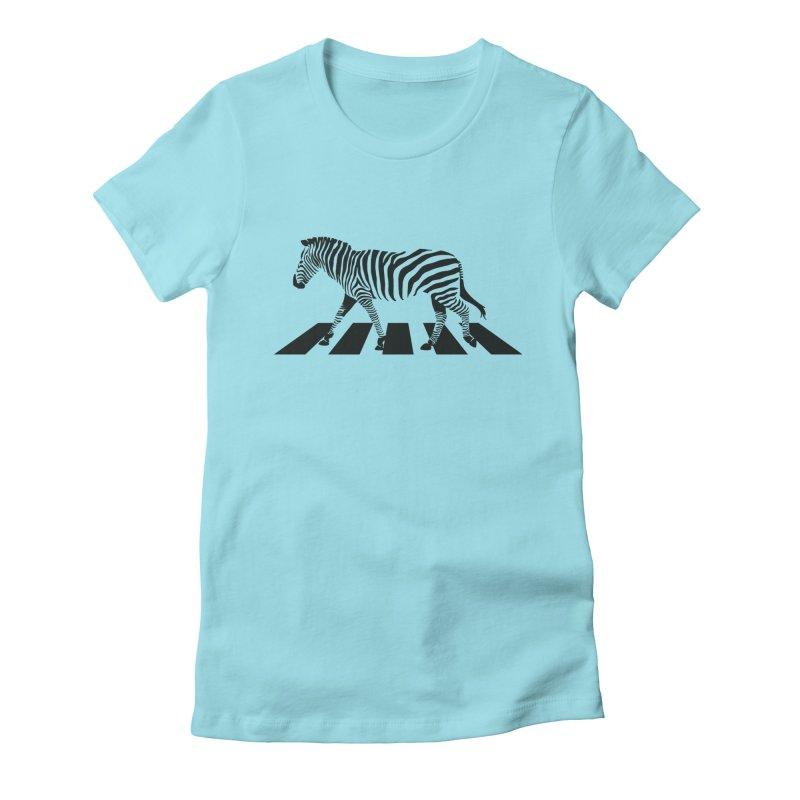 Zebra Crossing Women's Fitted T-Shirt by steveash's Artist Shop
