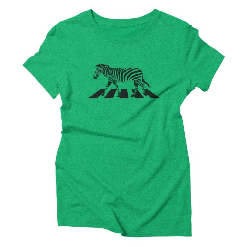 Zebra Crossing Women's Triblend T-shirt by steveash's Artist Shop