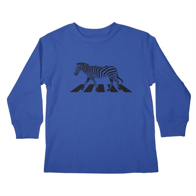 Zebra Crossing Kids Longsleeve T-Shirt by steveash's Artist Shop