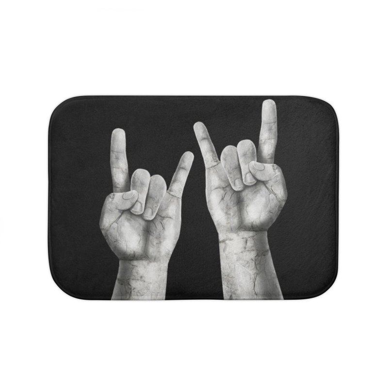 Rock Hands Home Bath Mat by steveash's Artist Shop