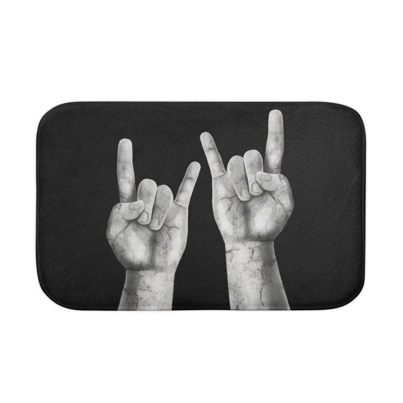 Rock Hands Home Bath Mat by steveash's Artist Shop
