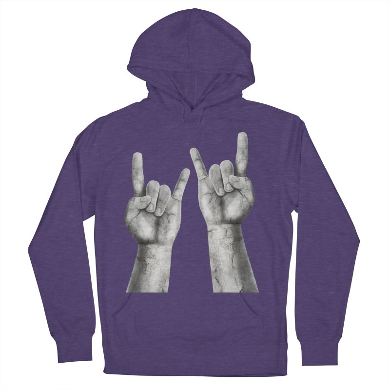 Rock Hands Women's French Terry Pullover Hoody by steveash's Artist Shop