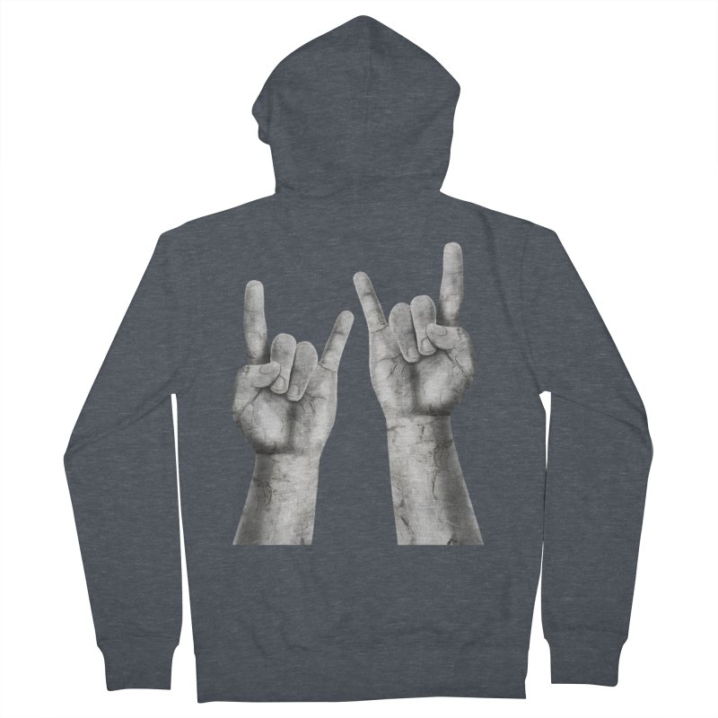 Rock Hands Women's French Terry Zip-Up Hoody by steveash's Artist Shop