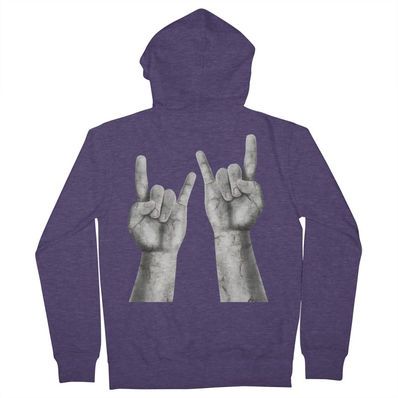 Rock Hands Men's French Terry Zip-Up Hoody by steveash's Artist Shop