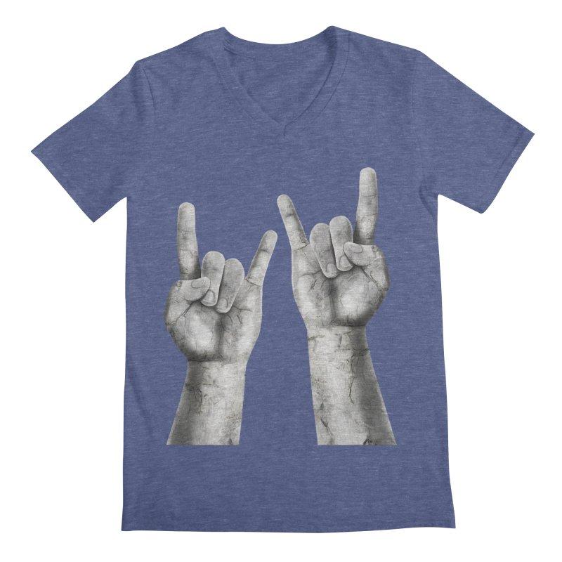 Rock Hands Men's V-Neck by steveash's Artist Shop