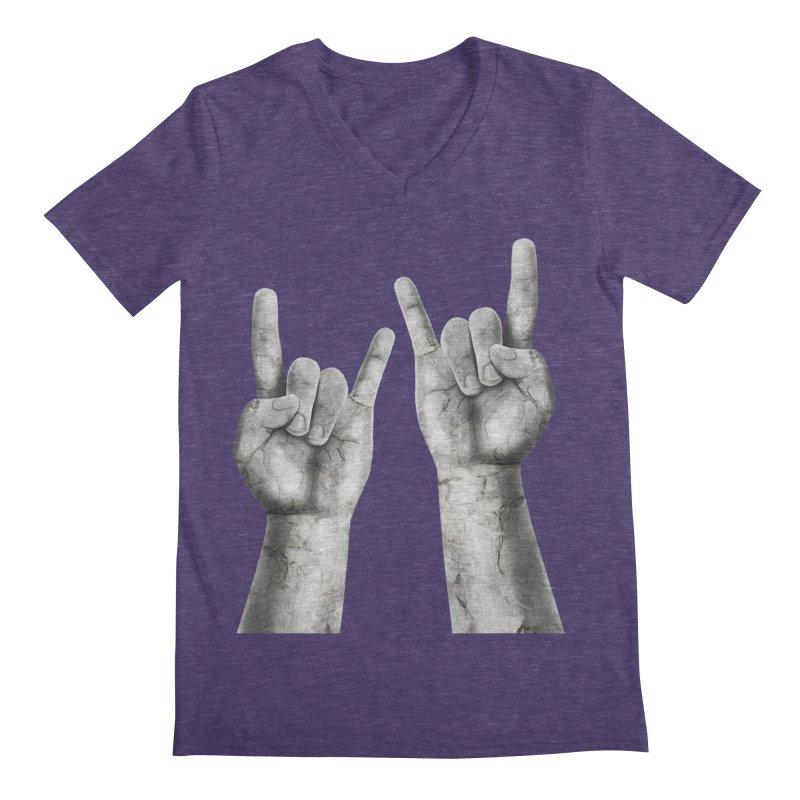Rock Hands Men's Regular V-Neck by steveash's Artist Shop
