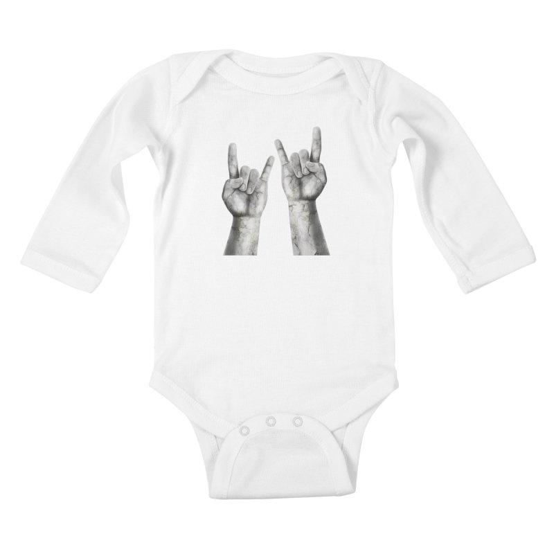 Rock Hands Kids Baby Longsleeve Bodysuit by steveash's Artist Shop