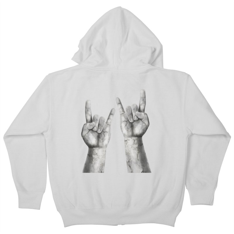 Rock Hands Kids Zip-Up Hoody by steveash's Artist Shop