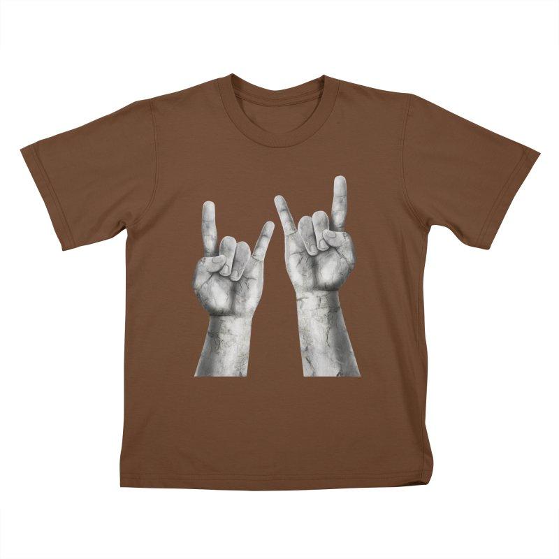 Rock Hands Kids T-Shirt by steveash's Artist Shop