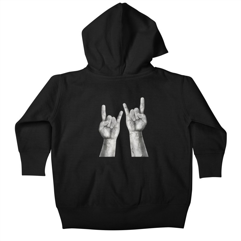 Rock Hands Kids Baby Zip-Up Hoody by steveash's Artist Shop