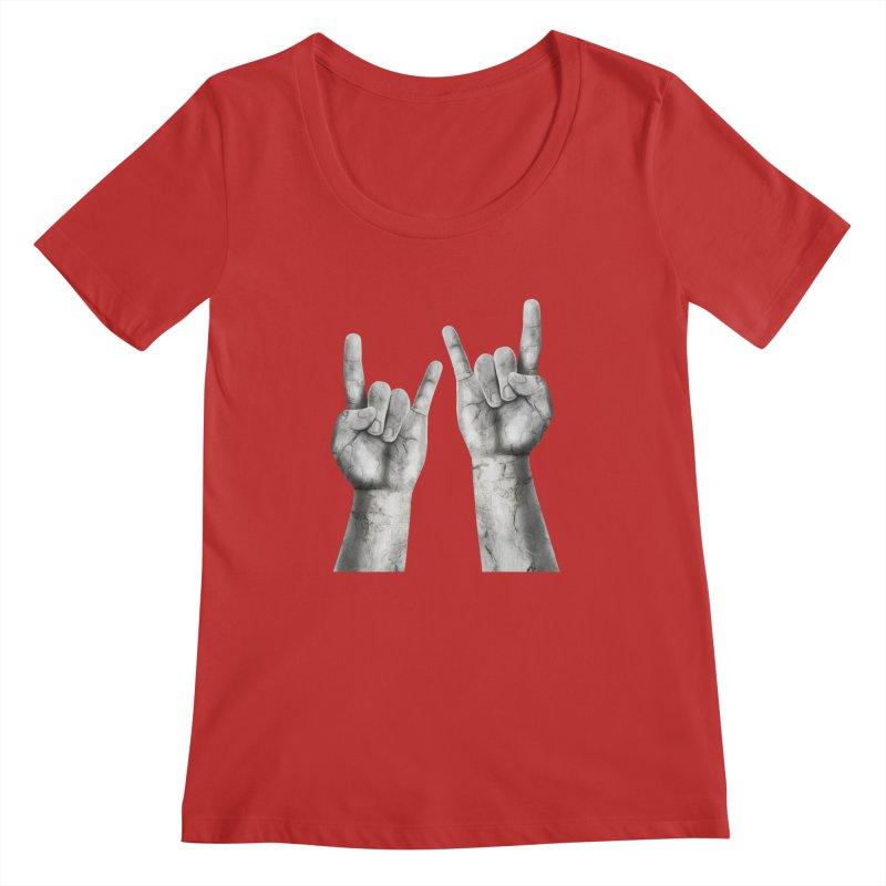 Rock Hands Women's Regular Scoop Neck by steveash's Artist Shop
