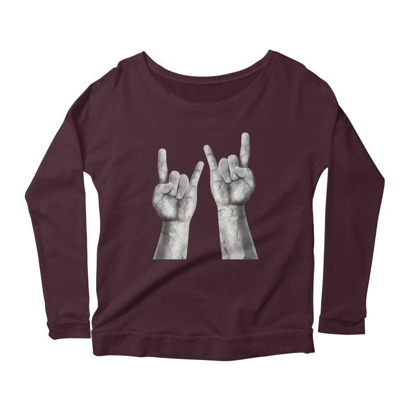 Rock Hands Women's Scoop Neck Longsleeve T-Shirt by steveash's Artist Shop