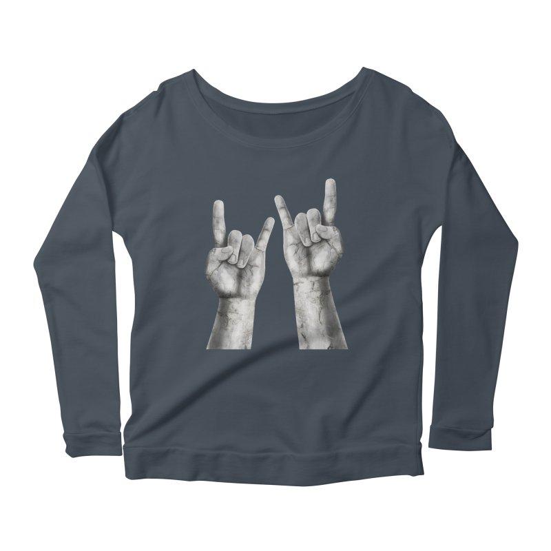 Rock Hands Women's Longsleeve Scoopneck  by steveash's Artist Shop