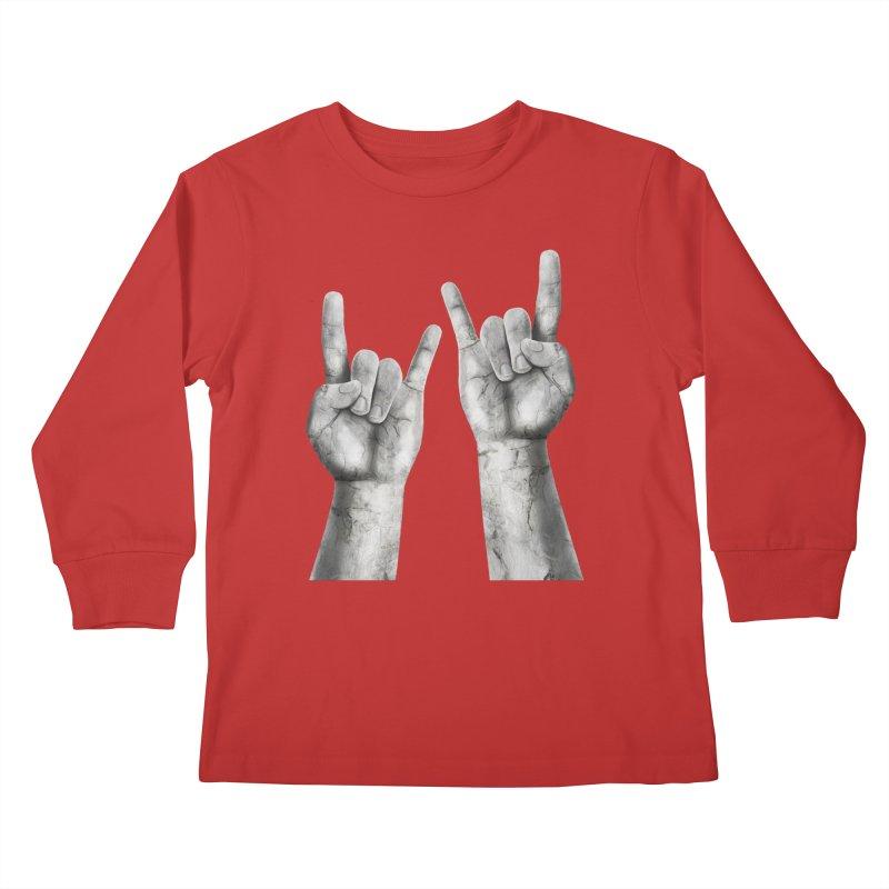 Rock Hands Kids Longsleeve T-Shirt by steveash's Artist Shop