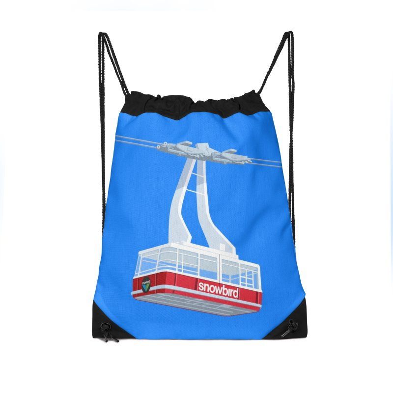 Snowbird Accessories Drawstring Bag Bag by steveash's Artist Shop