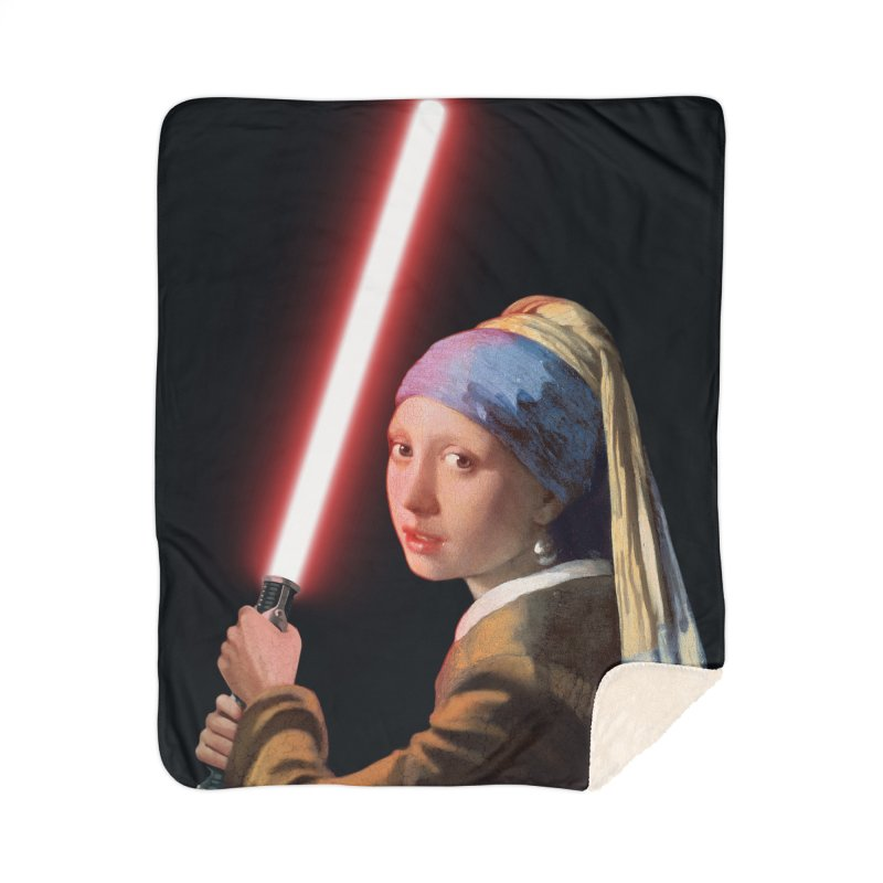 Girl with the Lightsaber Home Sherpa Blanket Blanket by steveash's Artist Shop