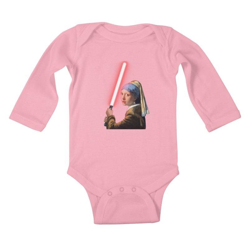 Girl with the Lightsaber Kids Baby Longsleeve Bodysuit by steveash's Artist Shop