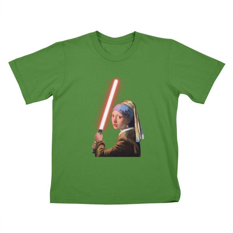 Girl with the Lightsaber Kids T-Shirt by steveash's Artist Shop