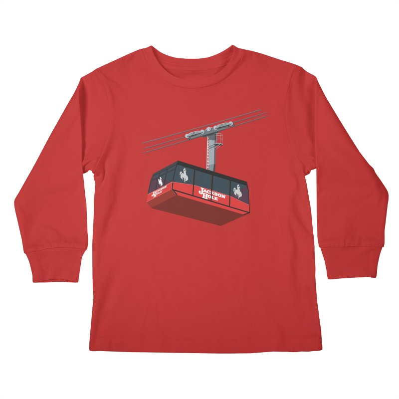 Jackson Hole Ski Resort Kids Longsleeve T-Shirt by steveash's Artist Shop