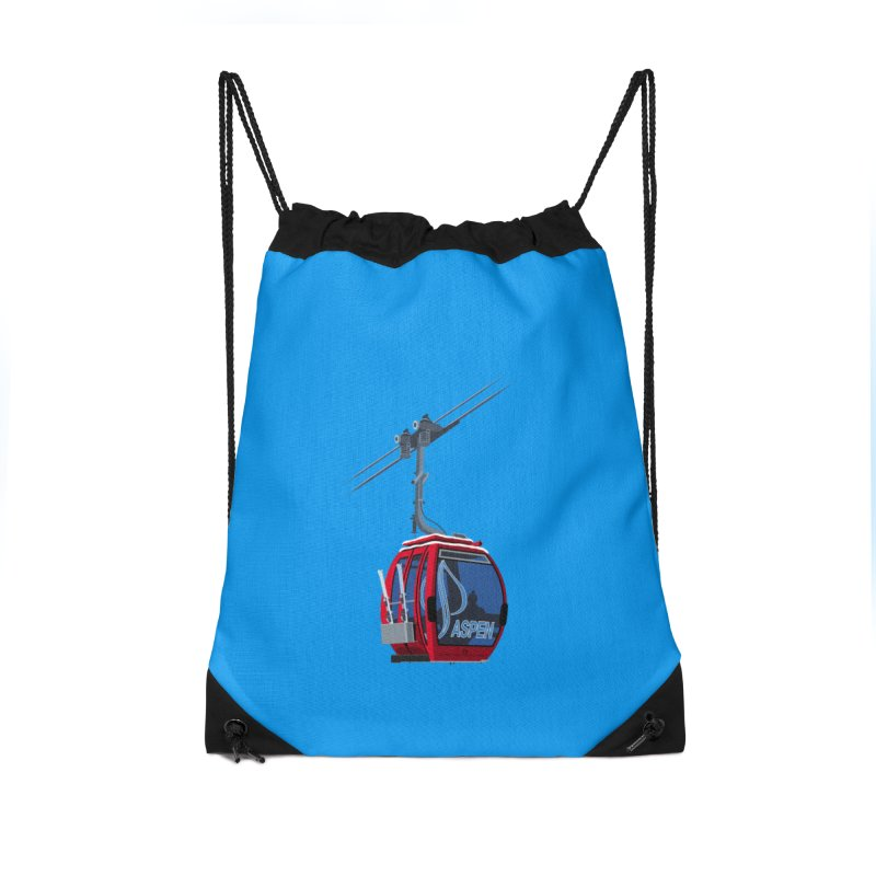 Aspen Ski Accessories Drawstring Bag Bag by steveash's Artist Shop