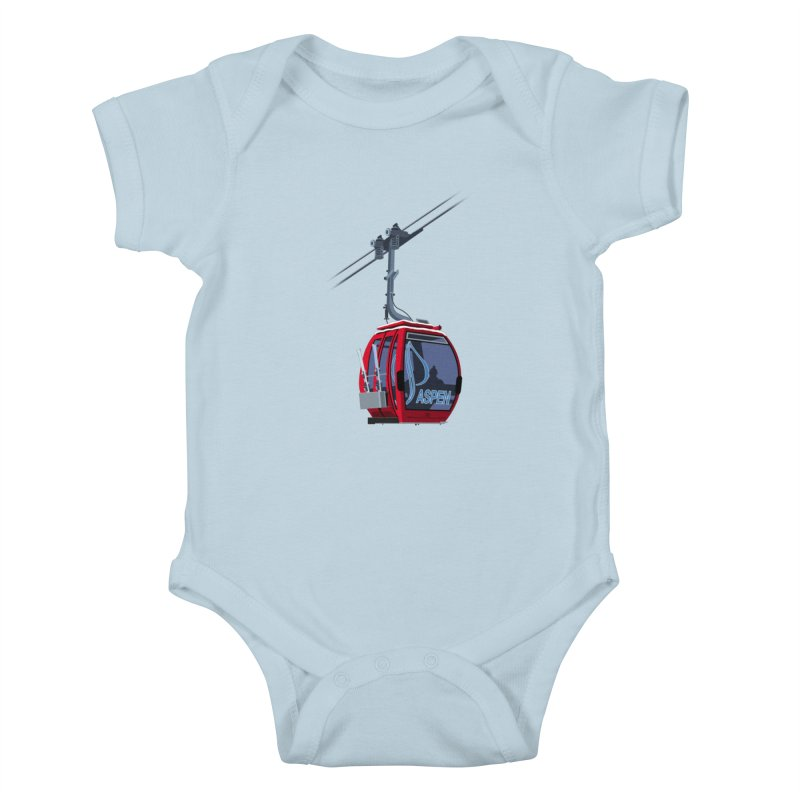 Aspen Ski Kids Baby Bodysuit by steveash's Artist Shop