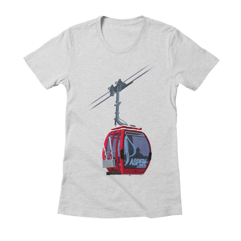 Aspen Ski Women's Fitted T-Shirt by steveash's Artist Shop
