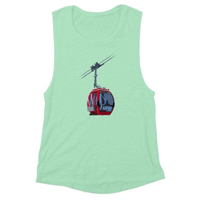 Aspen Ski Women's Muscle Tank by steveash's Artist Shop