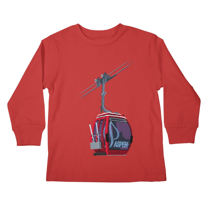 Aspen Ski Kids Longsleeve T-Shirt by steveash's Artist Shop