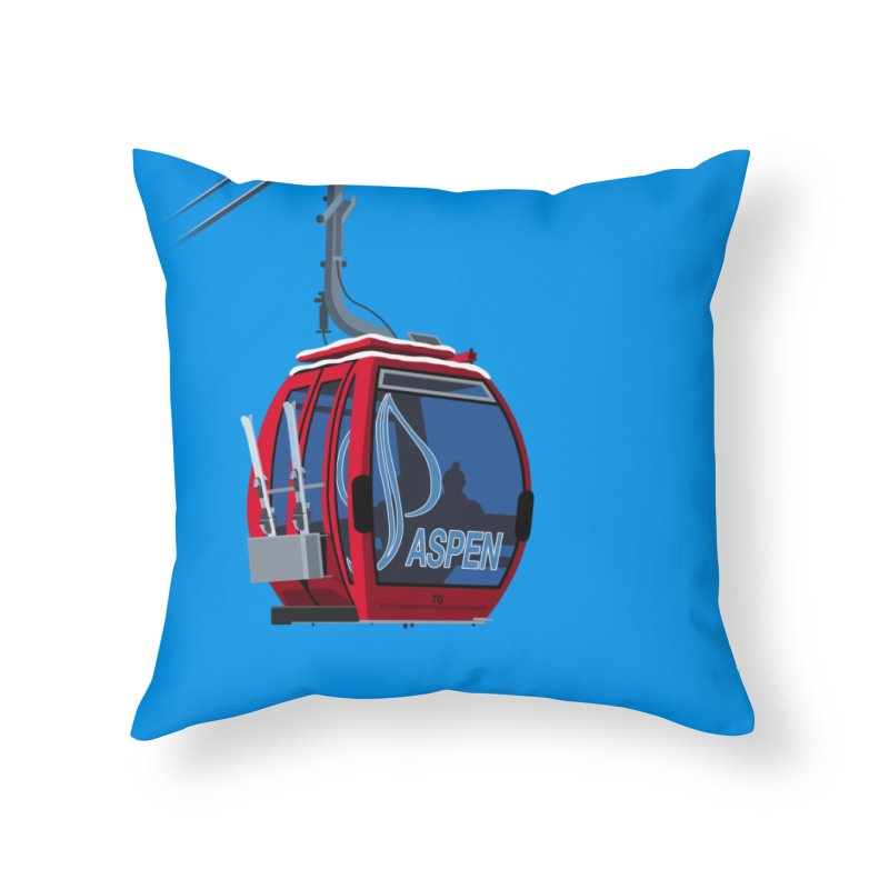 Aspen Ski Home Throw Pillow by steveash's Artist Shop