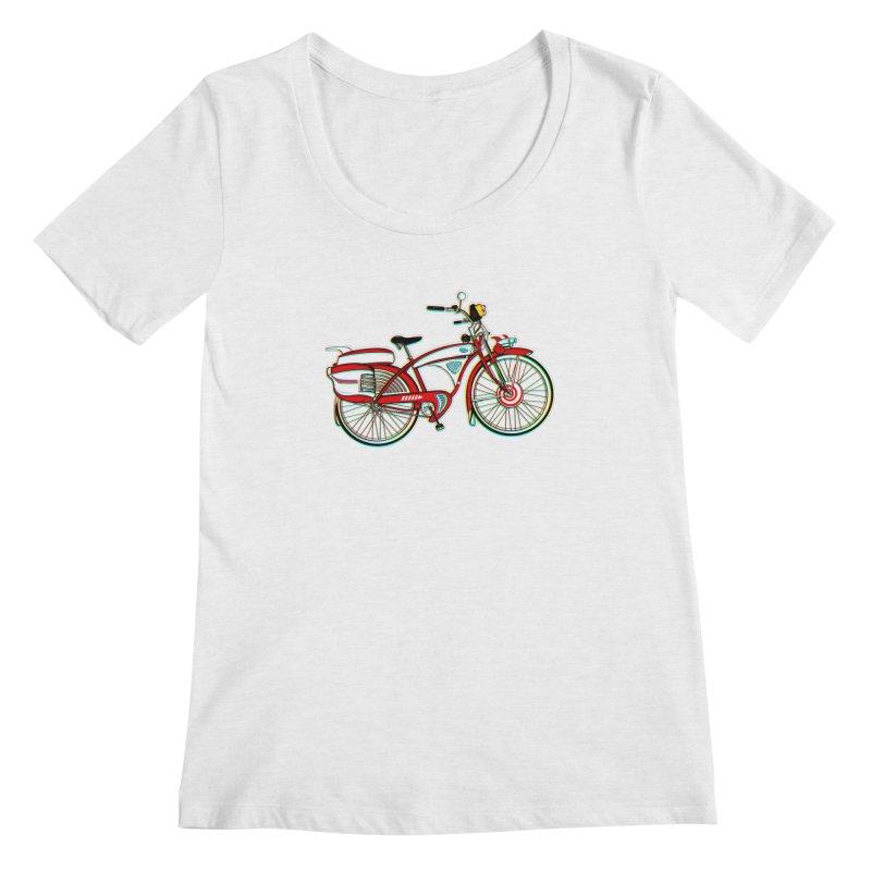 Stolen Bicycle Women's Regular Scoop Neck by Steve Dressler Illustration & Design