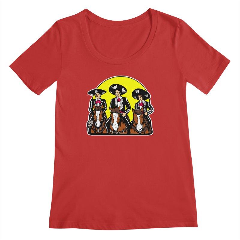 The Three Friends Women's Regular Scoop Neck by Steve Dressler Illustration & Design