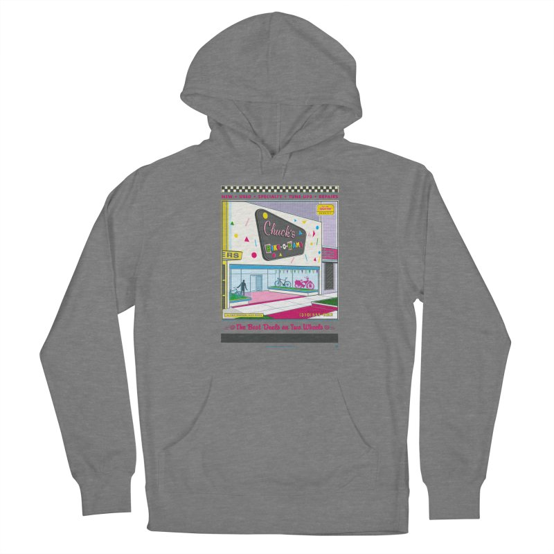 Chuck's Bike-O-Rama Women's Pullover Hoody by Steve Dressler Illustration & Design