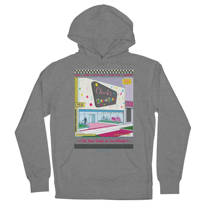 Chuck's Bike-O-Rama Women's French Terry Pullover Hoody by Steve Dressler Illustration & Design