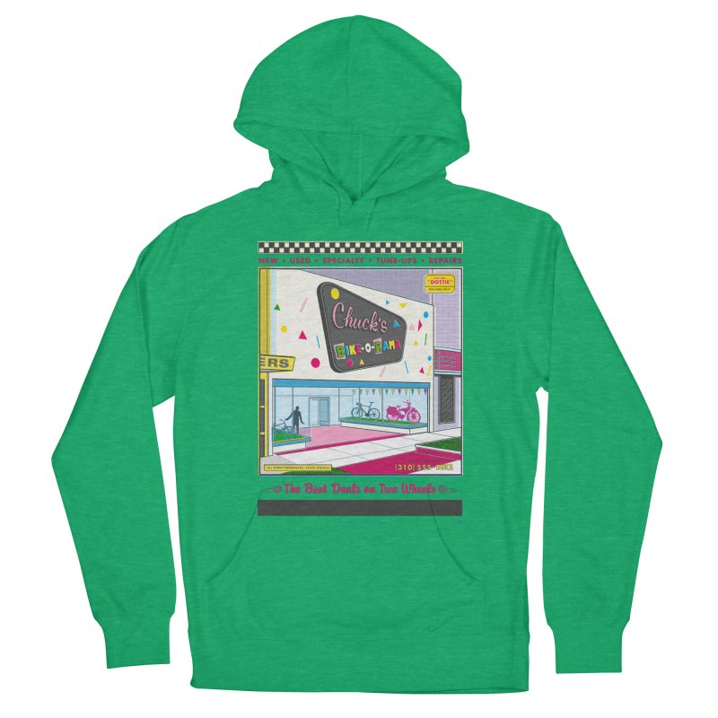 Chuck's Bike-O-Rama Men's French Terry Pullover Hoody by Steve Dressler Illustration & Design