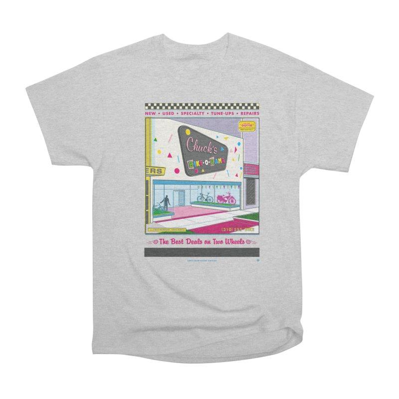 Chuck's Bike-O-Rama Men's Heavyweight T-Shirt by Steve Dressler Illustration & Design