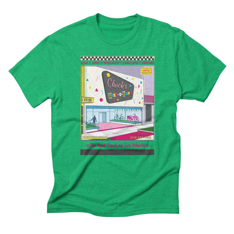 Chuck's Bike-O-Rama Men's Triblend T-Shirt by Steve Dressler Illustration & Design
