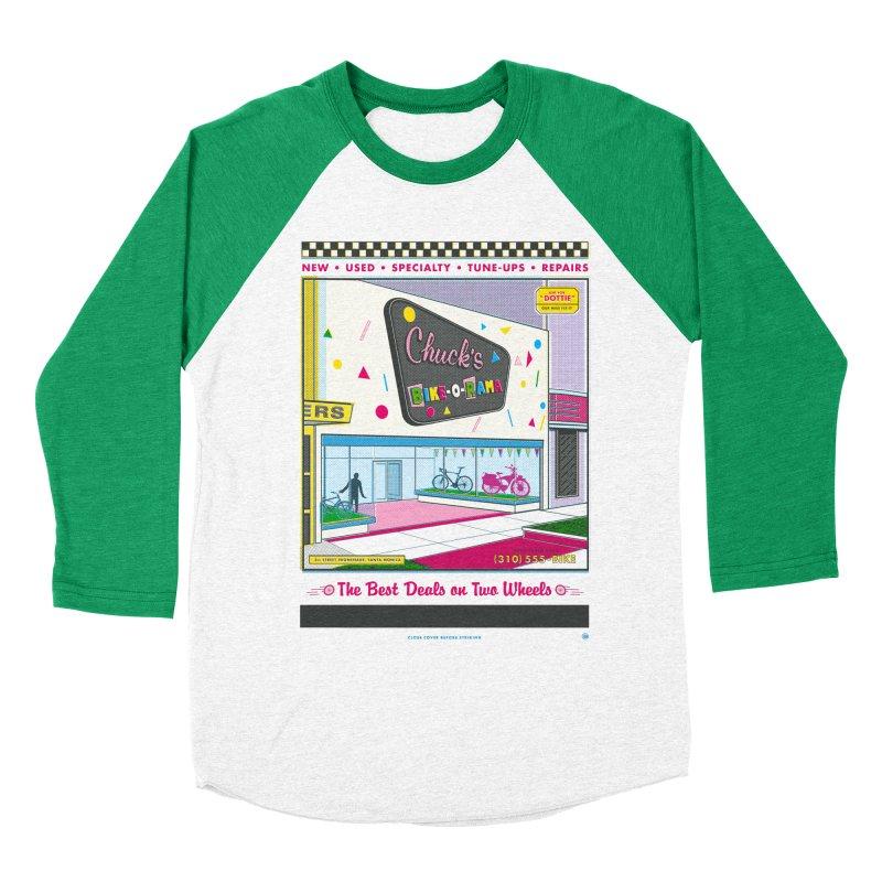 Chuck's Bike-O-Rama Women's Baseball Triblend Longsleeve T-Shirt by Steve Dressler Illustration & Design