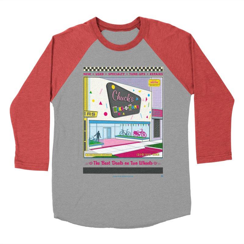 Chuck's Bike-O-Rama Men's Baseball Triblend Longsleeve T-Shirt by Steve Dressler Illustration & Design