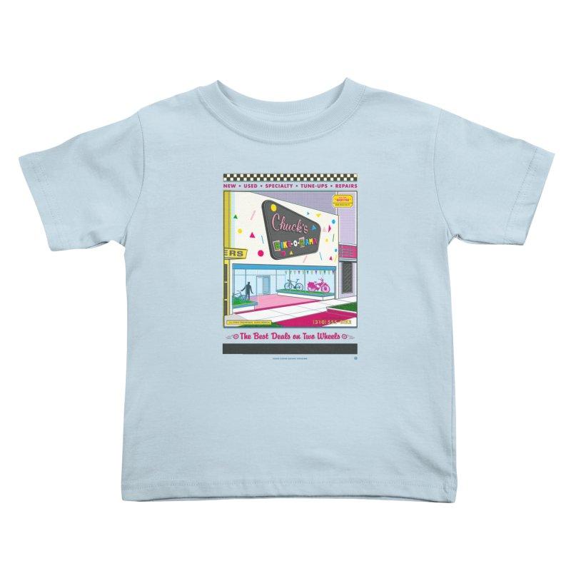 Chuck's Bike-O-Rama Kids Toddler T-Shirt by Steve Dressler Illustration & Design