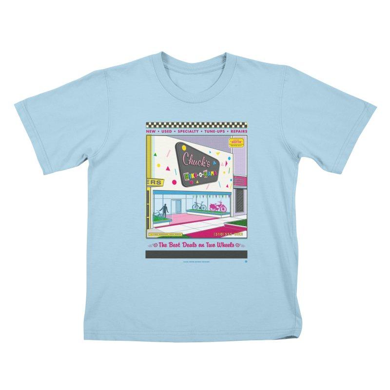 Chuck's Bike-O-Rama Kids T-Shirt by Steve Dressler Illustration & Design