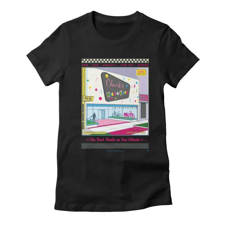 Chuck's Bike-O-Rama Women's T-Shirt by Steve Dressler Illustration & Design