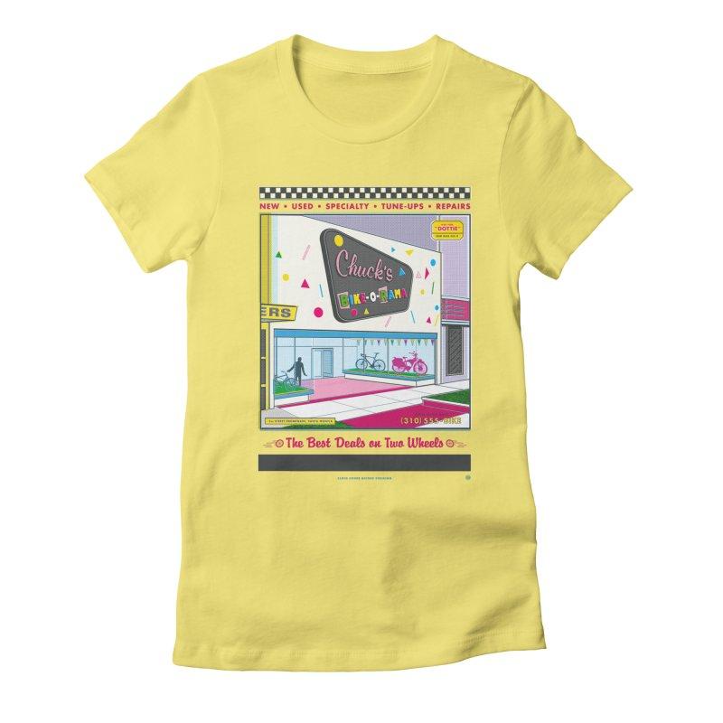 Chuck's Bike-O-Rama Women's Fitted T-Shirt by Steve Dressler Illustration & Design