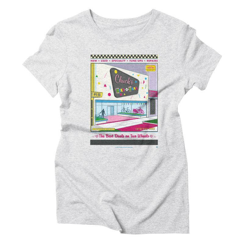 Chuck's Bike-O-Rama Women's Triblend T-Shirt by Steve Dressler Illustration & Design