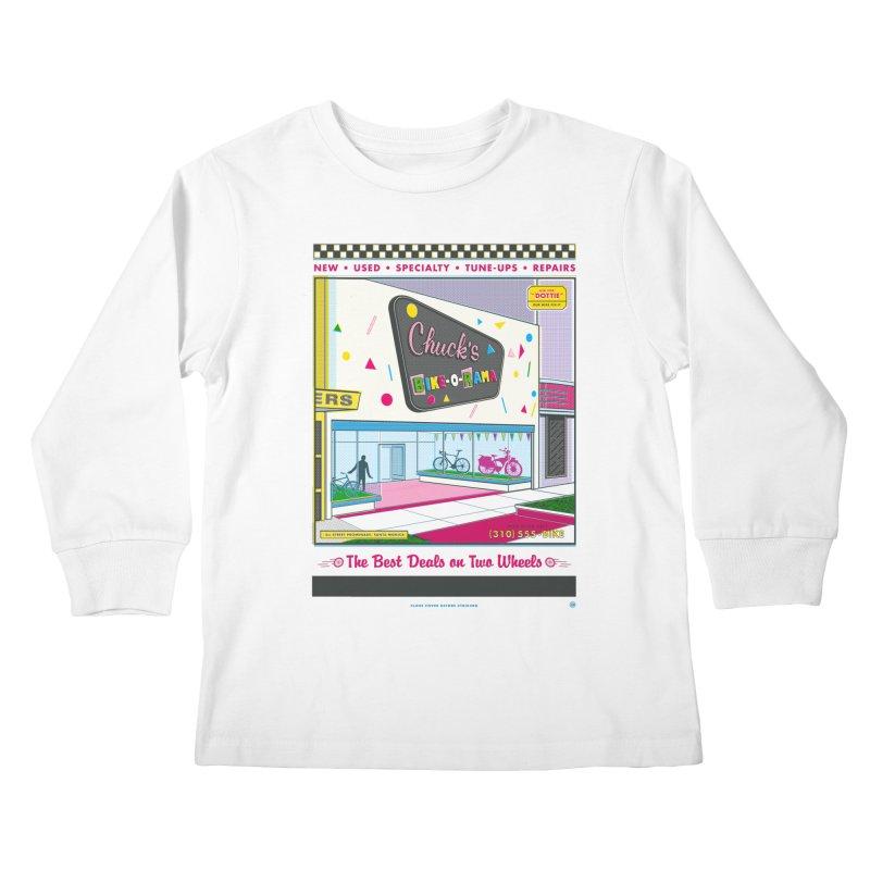 Chuck's Bike-O-Rama Kids Longsleeve T-Shirt by Steve Dressler Illustration & Design