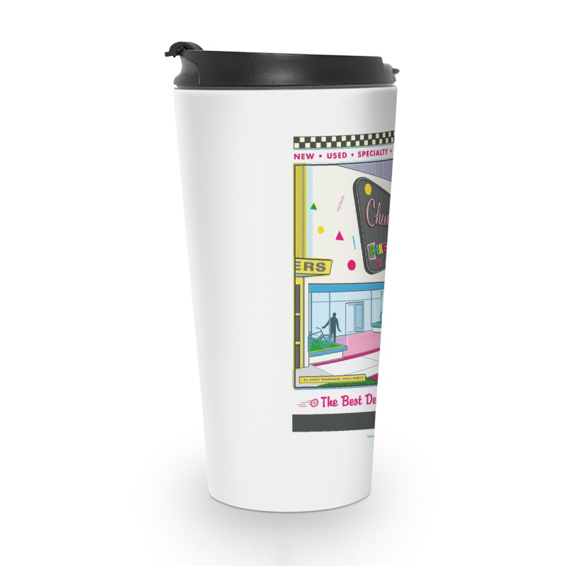 Chuck's Bike-O-Rama Accessories Travel Mug by Steve Dressler Illustration & Design